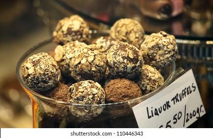 Belgian chocolate - Liquor truffles in a Brussels chocolate store