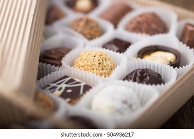 Belgian chocolate praline in a box.