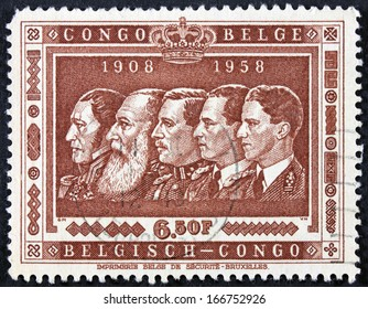 BELGIAN CONGO - CIRCA 1950 Stamp honoring the fiftieth anniversary of Belgian Congo with images of five kings. (3)