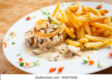 Belgian Dish chicken stew 'vol au vent' and  french fries