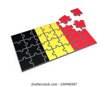 Belgian flag made of puzzles.Isolated on white.3d rendered.
