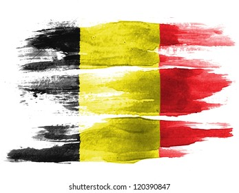 The Belgian flag painted on white paper with watercolor
