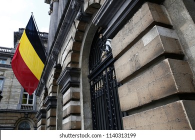 A belgian flag waves outside of Building of Belgian Federal Parliament in Brussels, Belgium on July 21, 2018