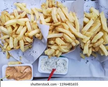 Belgian Fries with Sauces Andalouse and Tartar .