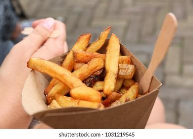 Belgian fries street food in Amsterdam, Netherlands.