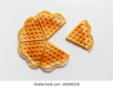 Belgian heart shaped waffle on white background
