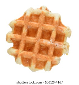 Belgian thick waffle with sugar isolated on white