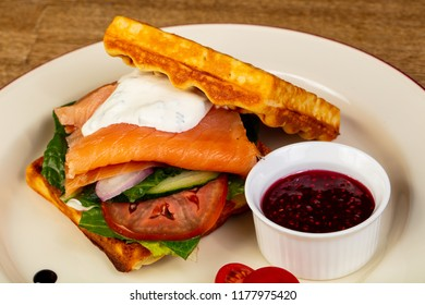 Belgian Waffer with salmon and sauce