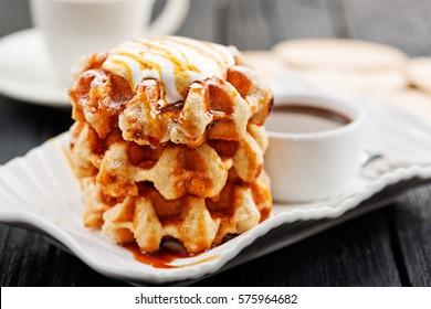 Belgian waffles for breakfast or tea time