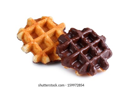 Belgian Waffles with chocolate. Isolated