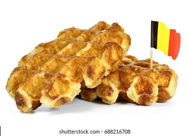 Belgian waffles isolated on white background