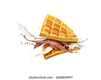 Belgian waffles with milk and chocolate isolated on white background
