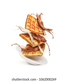 Belgian waffles with milk and chocolate on a plate isolated on white background