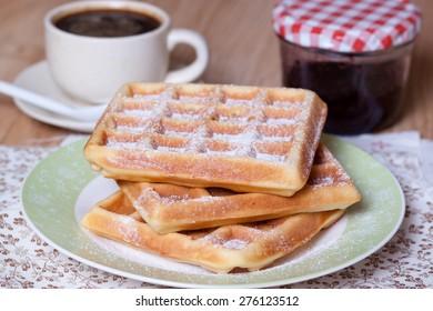 Belgian waffles with powdered sugar