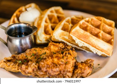 belgian waffles and syrup