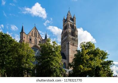 Belgium. Bruges. 13 august 2017 view of the Saint-Salvator Cathedral (Sint Salvatorskathedraal)