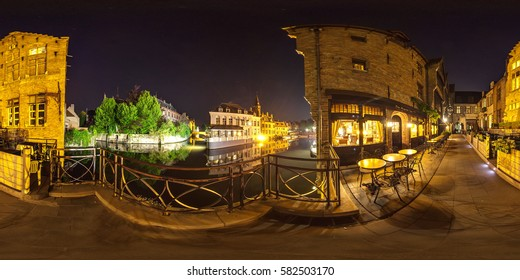 Belgium, Bruges - May 2013: Full 360 equirectangular equidistant spherical panorama view of city at night. Virtual reality content
