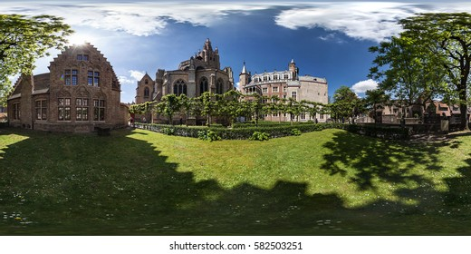 Belgium, Bruges - May 2013: Full 360 equirectangular equidistant spherical panorama view of Bruges. Virtual reality content