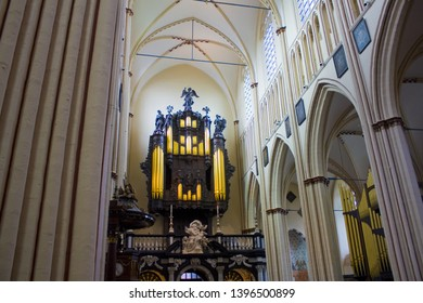 BELGIUM, BRUGGE - May 3, 2019: The organ of St. Salvator's Cathedral (Sint-Salvatorskathedraal) in Brugge