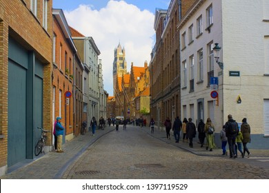 BELGIUM, BRUGGE - May 3, 2019: View of St. Salvator's Cathedral from Old Town in Brugge