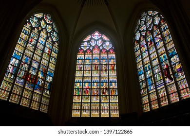 BELGIUM, BRUGGE - May 3, 2019: The stained glass window of St. Salvator's Cathedral (Sint-Salvatorskathedraal) in Brugge