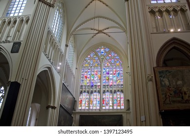 BELGIUM, BRUGGE - May 3, 2019: The interior of St. Salvator's Cathedral (Sint-Salvatorskathedraal) in Brugge