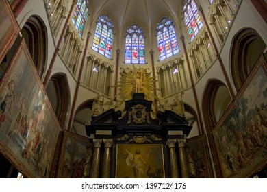 BELGIUM, BRUGGE - May 3, 2019: The altar of St. Salvator's Cathedral (Sint-Salvatorskathedraal) in Brugge