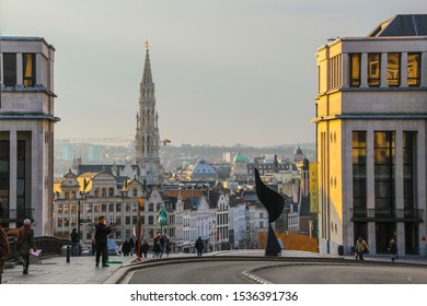 Belgium, Brussels - April 7, 2013: View towards the Mont des Arts Grand-Place is the central square Brussels and old town center