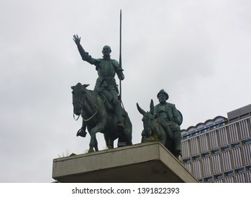BELGIUM, BRUSSELS - May 1, 2019: Monument to Don Quixote and Sancho Pansa on the Square of Spain in Brussels
