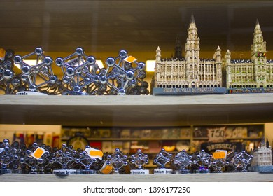 BELGIUM, BRUSSELS - May 1, 2019: Souvenir small building of  Town Hall and Atomium in the souvenir shop in Brussels