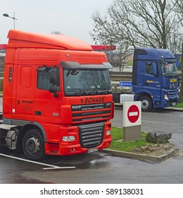 Belgium, central Europe, February, 13, 2016: truck on a petrol station in Belgium, Europe