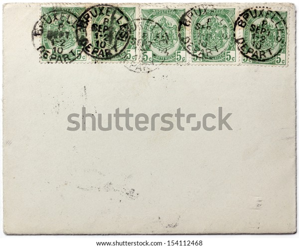 BELGIUM - CIRCA 1910: a set of five stamps printed by BELGIUM shows the coat of arms of Belgium, circa 1910