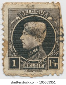 BELGIUM - CIRCA  1922: A stamp printed in Belgium shows portrait King Albert I, circa 1922