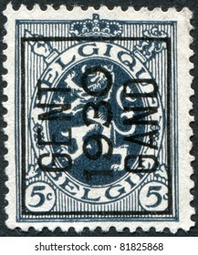 BELGIUM - CIRCA 1929: A stamp printed in Belgium, shows the Coat of Arms, Lion (overptint 1930), circa 1929