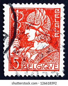 BELGIUM - CIRCA 1932: a stamp printed in the Belgium shows Mercury, God of Trade, circa 1932