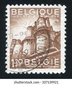 BELGIUM - CIRCA 1947: stamp printed by Belgium, shows Chemical Industry, circa 1947