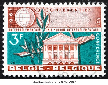 BELGIUM - CIRCA 1961: a stamp printed in the Belgium shows Senate Building, Brussels, Laurel and Sword, Belgium, circa 1961
