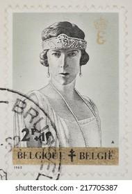 BELGIUM - CIRCA 1962: A Cancelled postage stamp from Belgium illustrating Queens of Belgium, issued in 1962 .