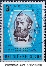 BELGIUM - CIRCA 1966: A postage stamp from Belgium showing a portrait of K. von Stradonitz the inventor of the Benzol formula