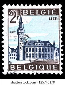"BELGIUM - CIRCA 1966: A stamp printed by Belgium, shows City Hall of Lier, with the inscription ""Lier"", from series ""Tourist Issue"", circa 1966"