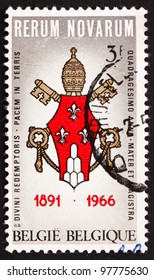 BELGIUM - CIRCA 1966: a stamp printed in the Belgium shows Arms of Pope Paul VI, 75th Anniversary of the Encyclical by Pope Leo XIII Rerum Novarum, circa 1966
