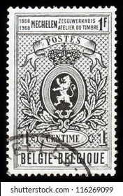 BELGIUM - CIRCA 1968: A stamp printed in Belgium shows Belgian coat of arms, heraldic lion , circa 1968