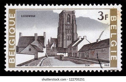 BELGIUM - CIRCA 1968: A stamp printed by Belgium, shows church in the small village of Lissewege, Belgium, circa 1968