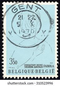 BELGIUM - CIRCA 1970: Stamp printed by Belgium, shows Queen Fabiola, Queen Fabiola Foundation for Mental Health, circa 1970