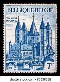 BELGIUM - CIRCA 1971: A stamp printed by Belgium, shows Tournai Doornik, Circa 1971