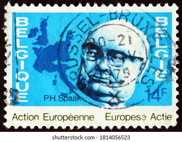 BELGIUM - CIRCA 1978: a stamp printed in Belgium shows Paul Henry Spaak, Belgian statesman who worked for the establishment of European Community, and map of 19 European member countries, circa 1978