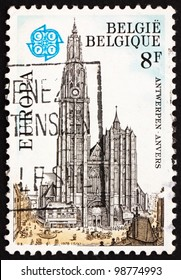 BELGIUM - CIRCA 1978: a stamp printed in the Belgium shows Antwerp Cathedral, Belgium, circa 1978