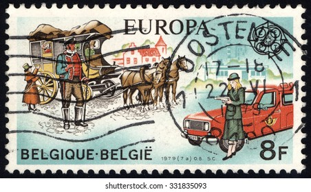 BELGIUM - CIRCA 1979: A stamp printed in the Belgium, shows C.E.P.T.- History post, circa 1979
