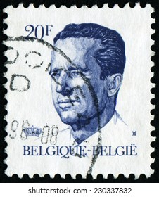 """BELGIUM - CIRCA 1982: A stamp printed in Belgium shows portrait of King Baudouin (Albert Charles Leopold Axel Marie Gustave de Belgique), without inscription, from series """"King Baudouin"""", circa 1982"""