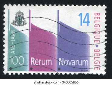 BELGIUM - CIRCA 1991: stamp printed by Belgium, shows RerumNovarum Encyclical, circa 1991